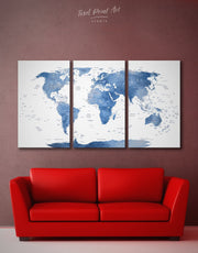 3 Panels Light Blue World Map Wall Art Canvas Print