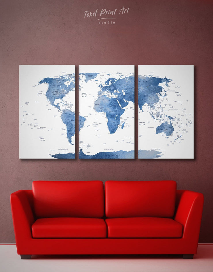 3 Panels Light Blue World Map Wall Art Canvas Print - 3 Panels bedroom Blue blue and white Blue wall art for living room