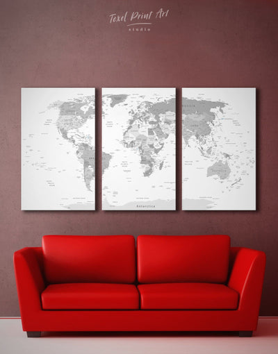 3 Panels Light Grey World Map Wall Art Canvas Print - 3 Panels Grey grey bedroom wall art Living Room Office Wall Art