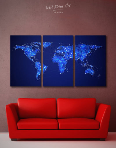 3 Panels Light World Map Wall Art Canvas Print - 3 Panels Abstract map Blue Blue Abstract Wall art geometric world map
