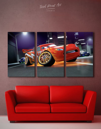 3 Panels Lightning McQueen Wall Art Canvas Print - Canvas Wall Art 3 Panels bedroom car Hallway Living Room
