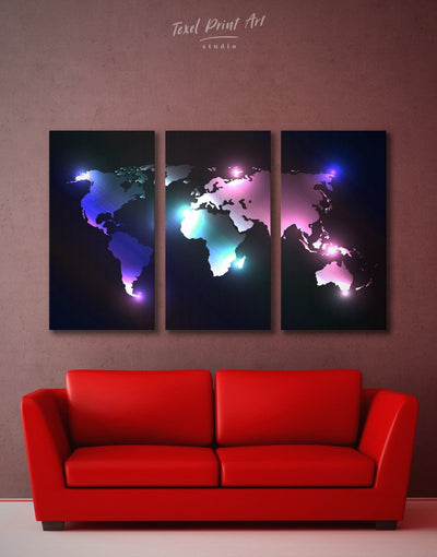 3 Panels Lights World Map Wall Art Canvas Print - 3 Panels Abstract Abstract map bedroom black