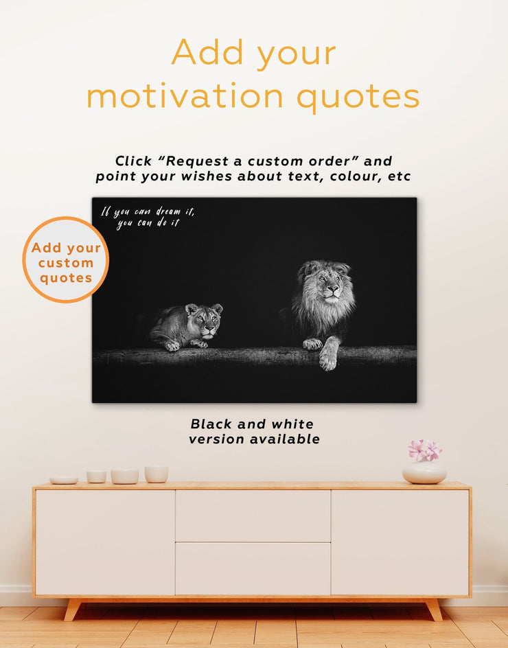 3 Panels Lion and Lioness Wall Art Canvas Print - 3 Panels Animal bedroom black and gold wall art lion wall art