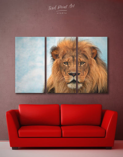 3 Panels Lion Animal Wall Art Canvas Print - 3 Panels Animal Animals Hallway lion wall art
