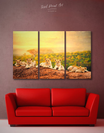 3 Panels Lions Wall Art Canvas Print - 3 Panels Animal Animals bedroom lion wall art