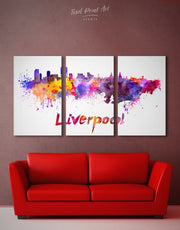 3 Panels Liverpool Skyline Canvas Wall Art