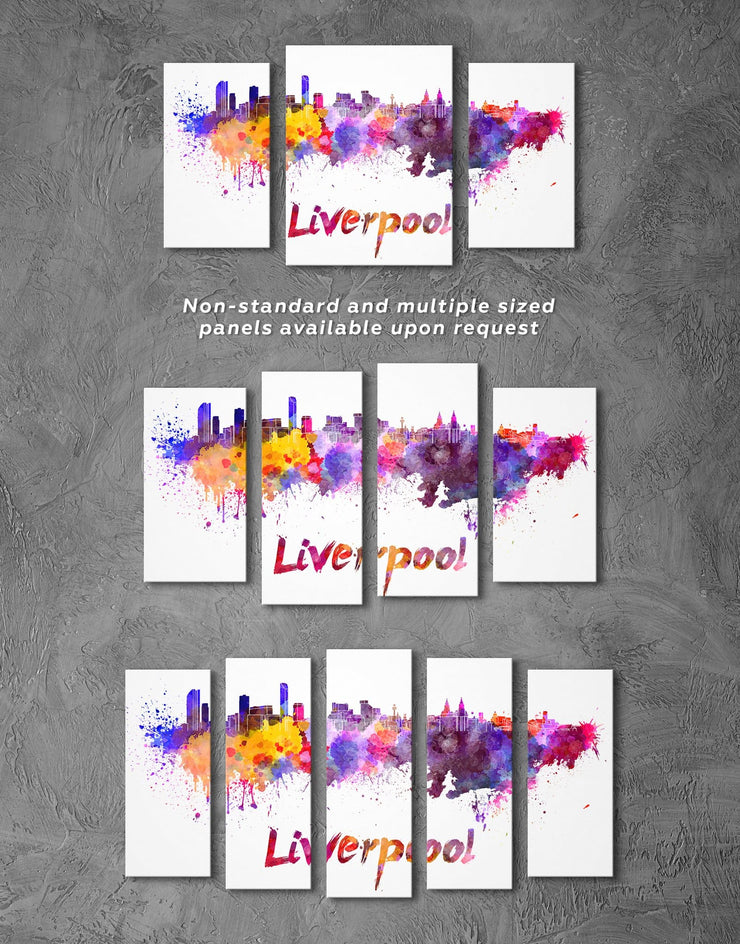 3 Panels Liverpool Skyline Canvas Wall Art - Canvas Wall Art 3 Panels Abstract bedroom City Skyline Wall Art Cityscape