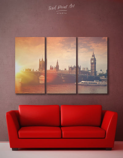 3 Panels London Wall Art Canvas Print - 3 Panels bedroom City Skyline Wall Art Cityscape Living Room