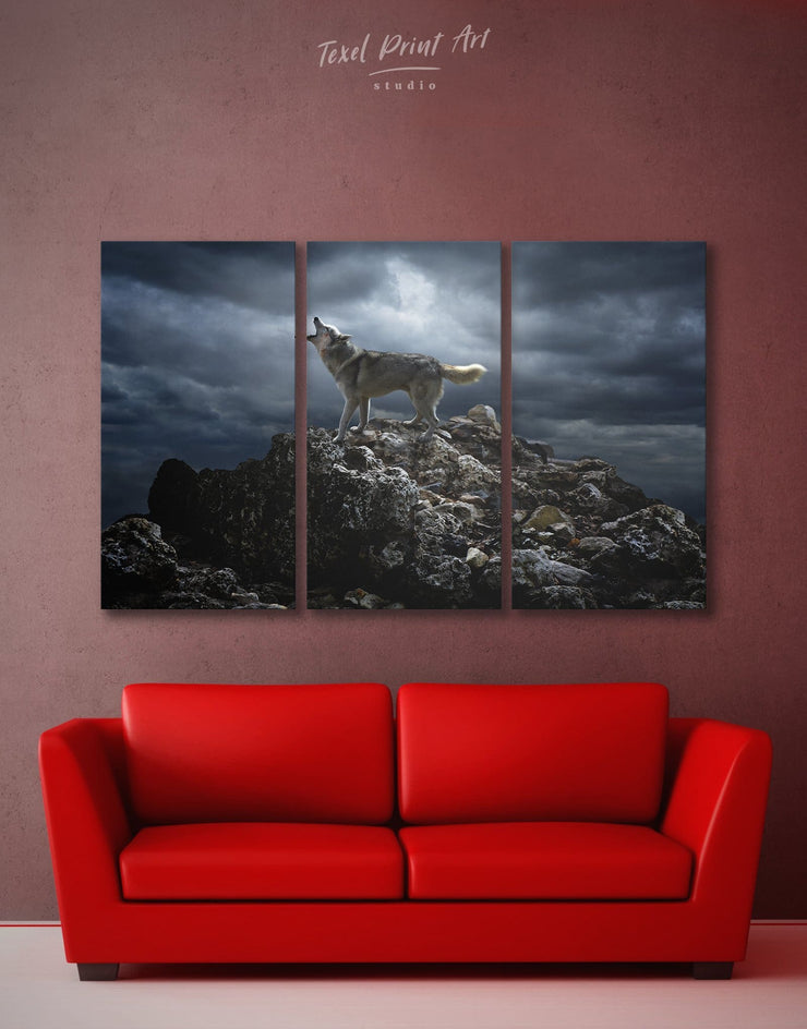 3 Panels Lonely Wolf Wall Art Canvas Print - 3 Panels Animal Animals bedroom Grey
