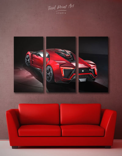 3 Panels Lykan Hypersport W Motors Wall Art Canvas Print - 3 Panels bachelor pad Car garage wall art Hallway