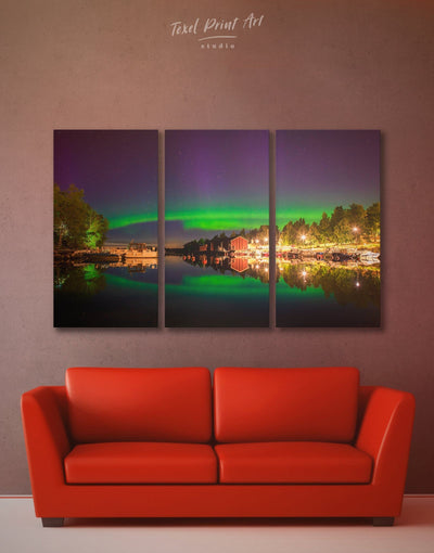 3 Panels Magic Northern Lights Wall Art Canvas Print - 3 Panels aurora borealis wall art bedroom Green landscape wall art