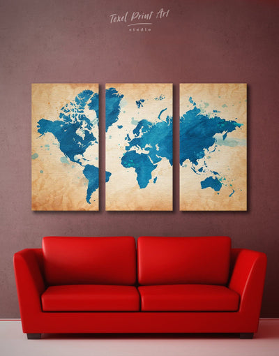 3 Panels Manuscript World Map Wall Art Canvas Print - 3 Panels Abstract map bedroom blue Blue Abstract Wall art