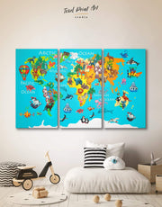 3 Panels Map for Children Rooms Wall Art Canvas Print