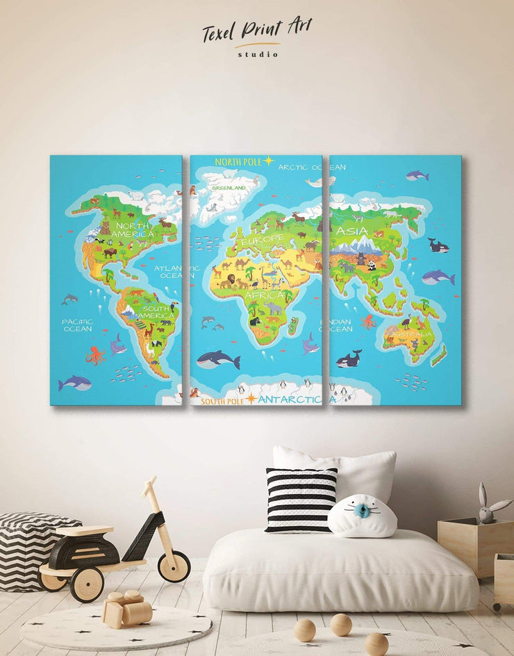 3 Panels Map for Nursery Wall Art Canvas Print - 3 Panels Abstract map abstract world map wall art bedroom Kids room