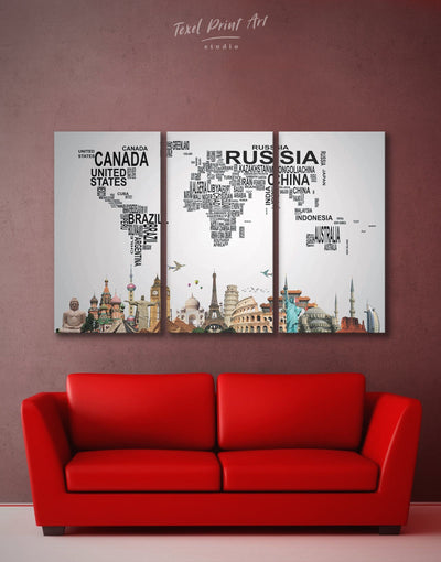 3 Panels Map Made of Letters Wall Art Canvas Print - 3 Panels Abstract map bedroom black geometric world map