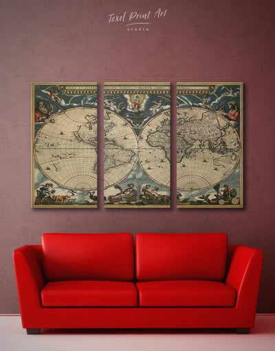 3 Panels Map of the World Antique Wall Art Canvas Print - 3 Panels Antique Antique world map canvas bedroom Brown