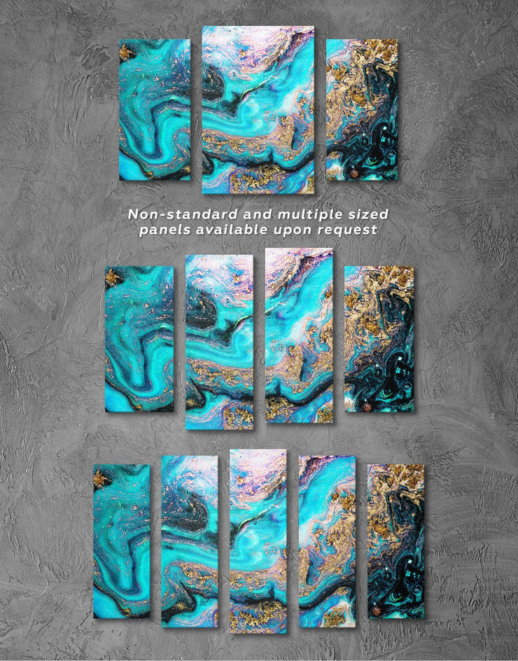 3 Panels Marble Geode Wall Art Canvas Print - 3 Panels Abstract bedroom blue blue and white