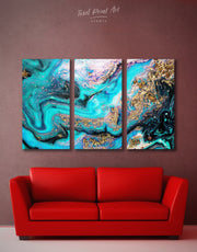 3 Panels Marble Geode Wall Art Canvas Print