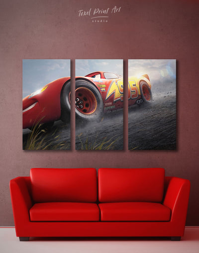3 Panels McQueen Cars 3 Wall Art Canvas Print - 3 Panels bedroom Car disney Kids room