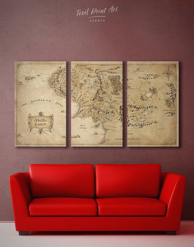 3 Panels Middle Earth World Wall Art Canvas Print - 3 Panels Antique bedroom Library Living Room