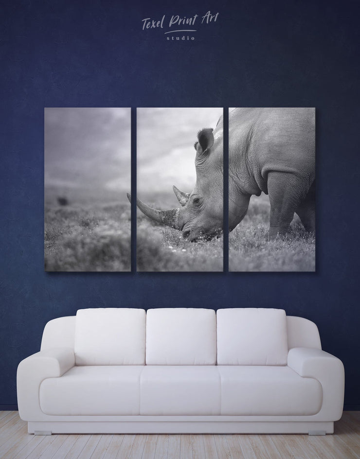 3 Panels Mighty Rhino Wall Art Canvas Print - 3 Panels Animal bedroom black and white wall art Dining room