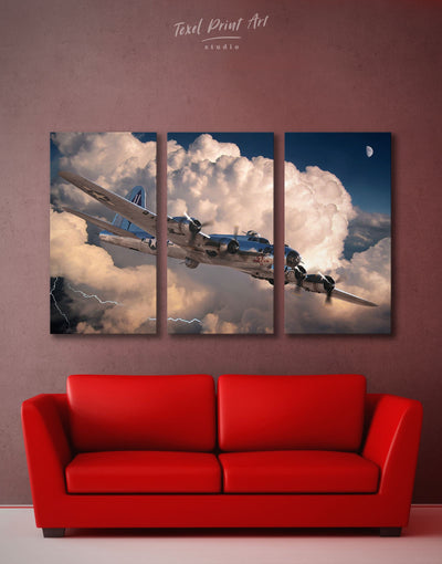 3 Panels Military Aircraft Wall Art Canvas Print - 3 Panels airplane wall art bachelor pad Hallway Living Room