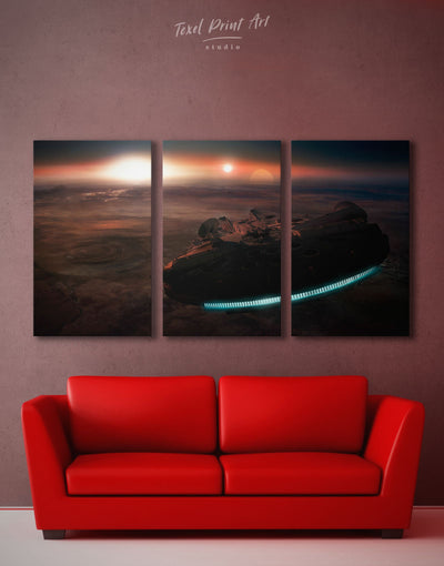 3 Panels Millenium Falcon Wall Art Canvas Print - 3 Panels bachelor pad bedroom Black Hallway