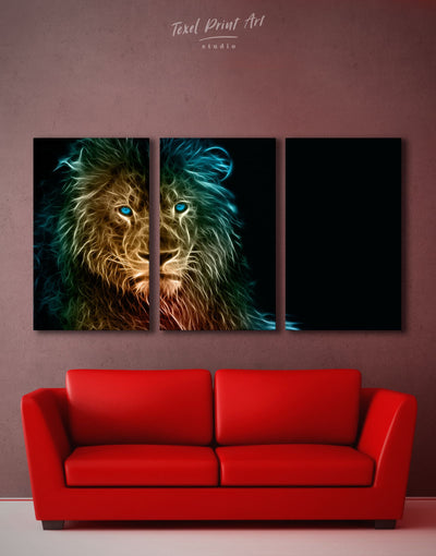 3 Panels Modern Lion Wall Art Canvas Print - 3 Panels Animal Animals bedroom Black