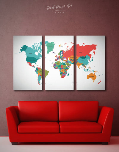 3 Panels Modern Map Wall Art Canvas Print - 3 Panels Abstract Abstract map bedroom Hallway