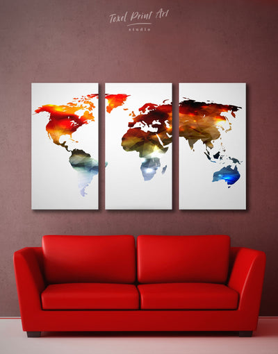 3 Panels Modern World Map Wall Art Canvas Print - 3 Panels Abstract map bedroom geometric world map Living Room