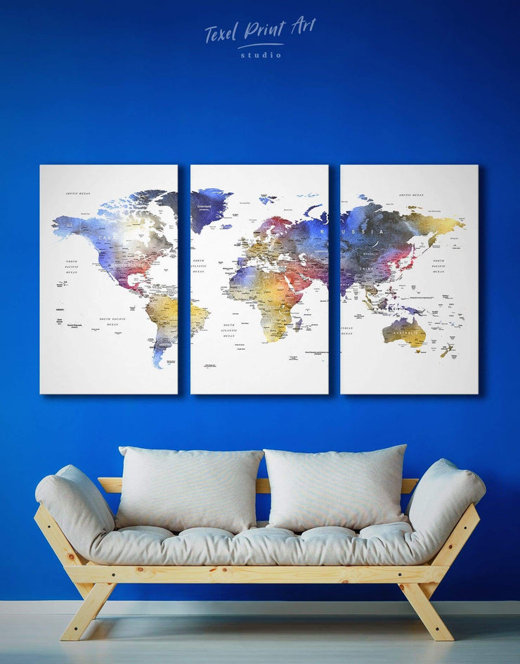 3 Panels Multicolor Travel Map With Pins Wall Art Canvas Print - 3 Panels bedroom Blue contemporary wall art green