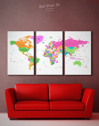 3 Panels Multicolored World Map Wall Art Canvas Print - 3 Panels bedroom contemporary wall art map of the world labeled modern wall art
