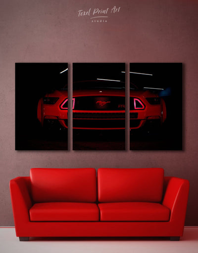 3 Panels Mustang Wall Art Canvas Print - 3 Panels bachelor pad black car garage wall art