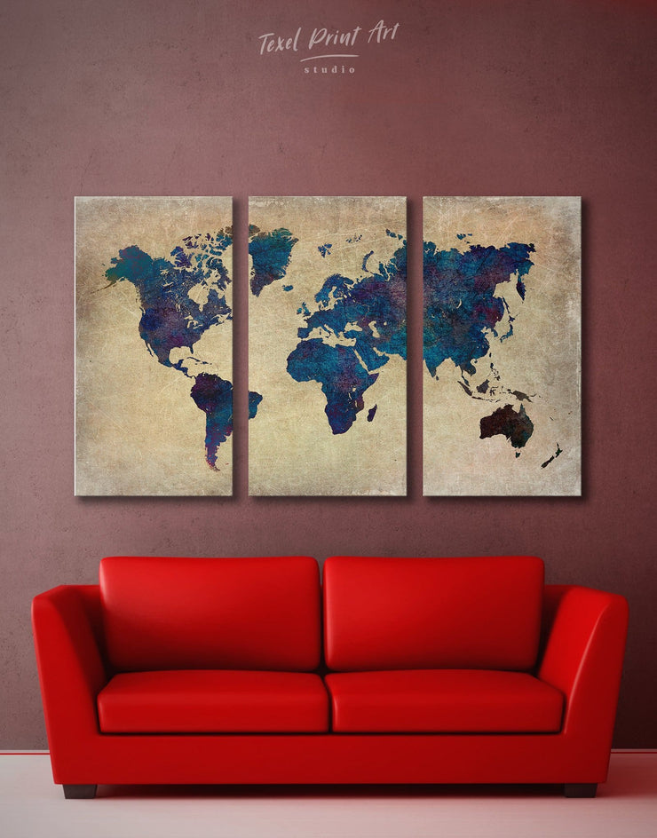 3 Panels Navy Blue World Map Wall Art Canvas Print - 3 Panels Abstract Abstract map bedroom Blue