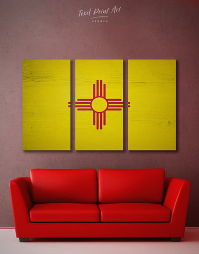 3 Panels New Mexico Flag Wall Art Canvas Print - Canvas Wall Art 3 Panels flag wall art Hallway Living Room Office Wall Art