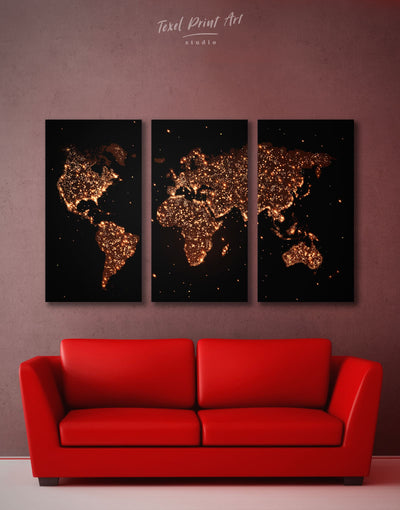 3 Panels Night Lights World Map Wall Art Canvas Print - 3 Panels Abstract map bedroom black Gilded world map wall art