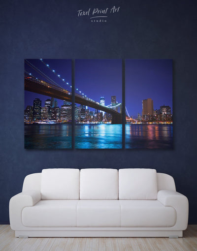 3 Panels Night New York Brooklyn Bridge Wall Art Canvas Print - 3 Panels bedroom Blue blue wall art for bedroom Blue wall art for living