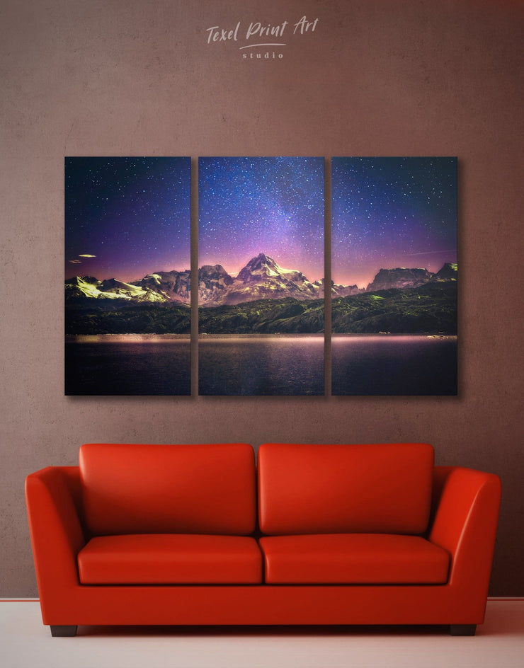 3 Panels Night Sky Wall Art Canvas Print - 3 Panels bedroom landscape wall art Living Room living room wall art