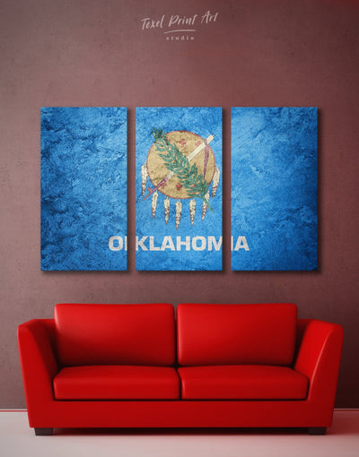 3 Panels Oklahoma State Flag Wall Art Canvas Print - Canvas Wall Art 3 Panels bedroom Blue Flag Wall Art Hallway
