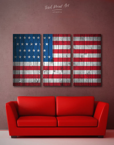 3 Panels Old Glory Wall Art Canvas Print - 3 Panels American flag Blue Flag Wall Art Living Room