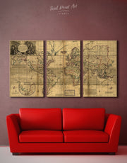 3 Panels Old World Antique Map Wall Art Canvas Print