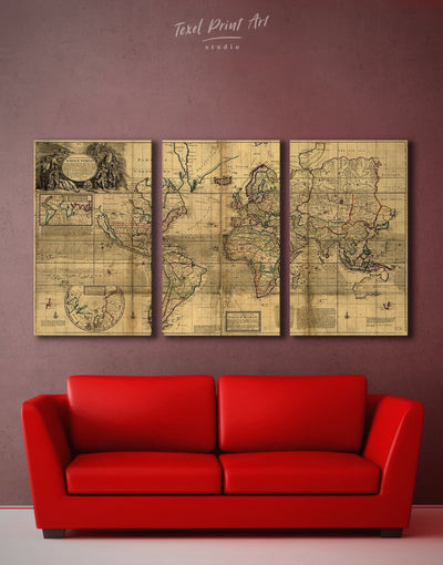 3 Panels Old World Antique Map Wall Art Canvas Print - 3 Panels Antique world map canvas bedroom Brown Library