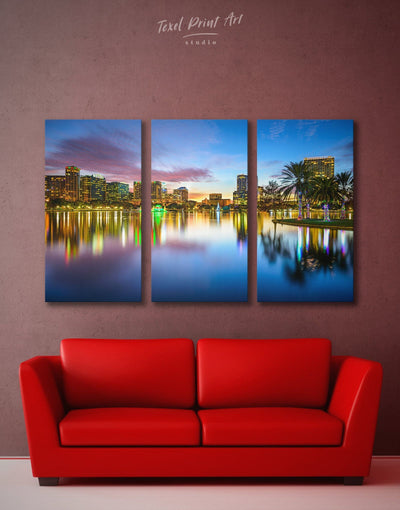 3 Panels Orlando Wall Art Canvas Print - 3 Panels bedroom City Skyline Wall Art Cityscape Dining room