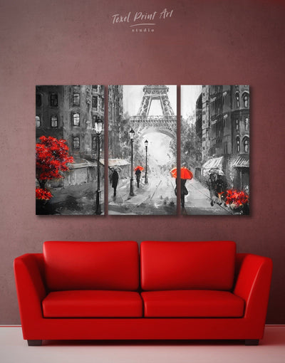 3 Panels Paris City Wall Art Canvas Print - 3 Panels eiffel tower wall art french wall art inspirational wall art living room wall art