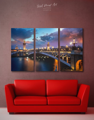 3 Panels Paris Wall Art Canvas Print - 3 Panels bedroom Bridge Cityscape french wall art