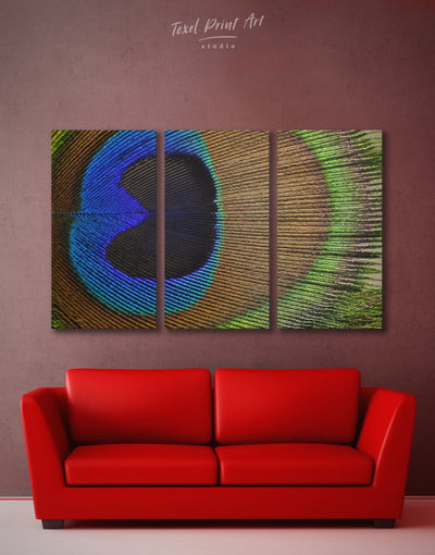 3 Panels Peacock Abstract Wall Art Canvas Print - 3 Panels Abstract bedroom bird wall art blue and green wall art