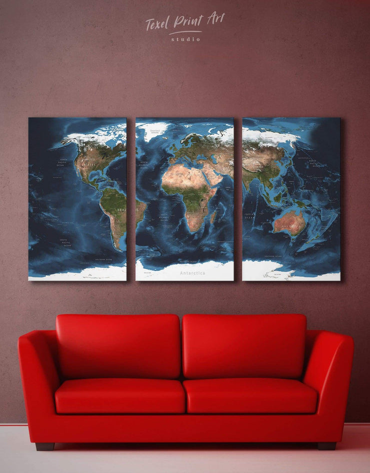 3 Panels Physical World Map Wall Art Canvas Print - World Map Wall Art 3 Panels Brown Labeled world map Living Room Office Wall Art