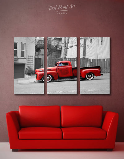 3 Panels Pickup Truck Wall Art Canvas Print - 3 Panels bachelor pad Car grey Hallway
