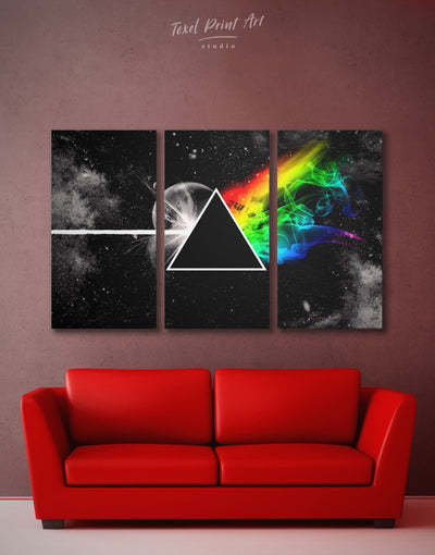 3 Panels Pink Floyd Rock Wall Art Canvas Print - 3 Panels Abstract bedroom Black Living Room
