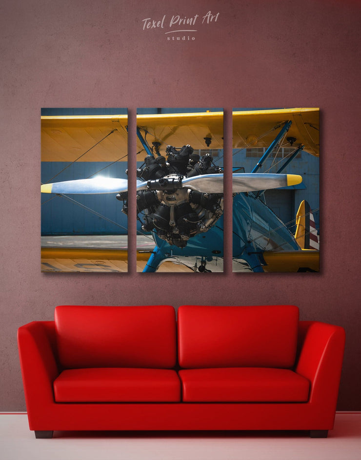3 Panels Plane Wall Art Canvas Print - 3 Panels airplane wall art bachelor pad bedroom Hallway
